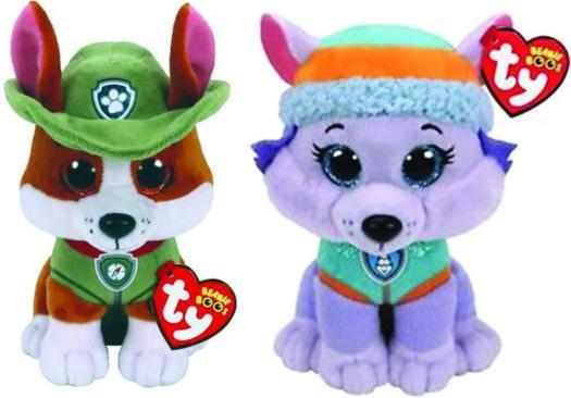 30aa79741fa TY Beanie Baby Boo 6″ Paw Patrol EVEREST Husky   TRACKER Chihuahua ...