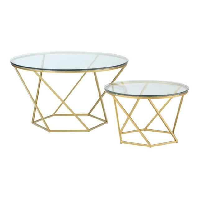 walker edison af28clrgggd geometric glass nesting coffee tables gold