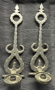 """Vintage 18"""" Gothic Style Cast Aluminum Candle Holder Wall ... on Antique Style Candle Holder Sconces id=94359"""