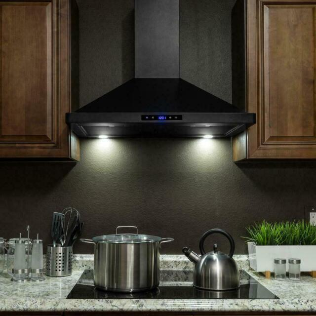 30 wall range hoods mount black finish stainless steel touch control panel vent
