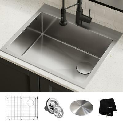 kraus loften dual mount drop in stainless steel 25 in 1 hole single bowl kitche ebay