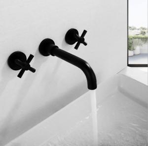 details about wall mounted 2 handle swivel spout bath tub basin mixer black faucet sink tap