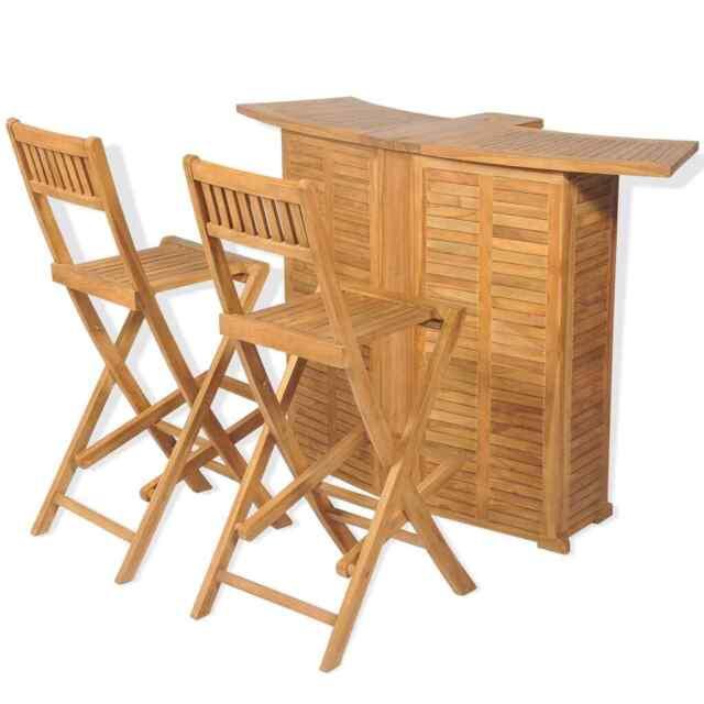 vidaxl teak outdoor bar set 3 piece foldable garden furniture table stools