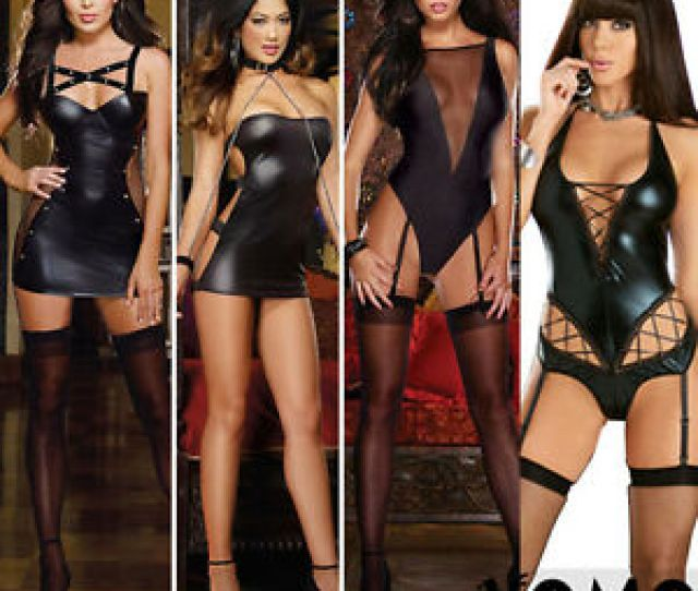 Image Is Loading Sexy Imit Latex Faux Leather Black Transparent Tight