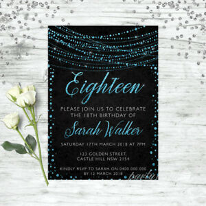 details about 18th birthday invitations age eighteen personalised party supplies invite blue