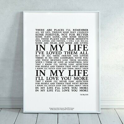 in my life the beatles song lyrics print poster unframed wall art typography ebay