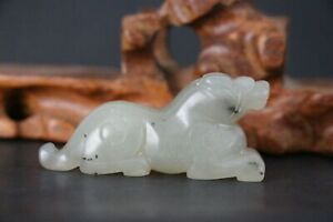 Chinese Antique Qing Dynasty HandCarved Hetian Jade Beast Figurines & Statues