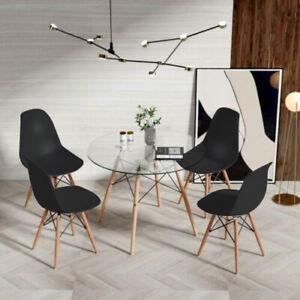 details sur eggree table de salle a manger ronde en verre 80cm scandinave et 4 chaises noire
