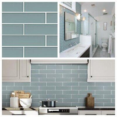 aqua blue glass subway tile for kitchen bachsplash bathroom wall 3 x 12 ebay