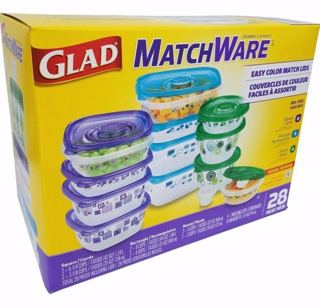Glad Matchware Food Containers Microwave/Dishwasher/Freezer BPA Free - 28 Pc Set 2