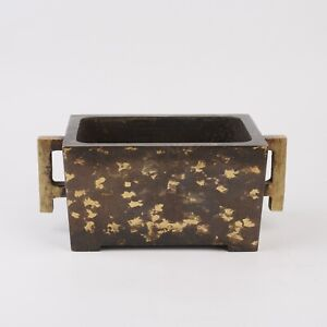 Antique Chinese Spotted Gold Double Ears Copper Incense Burner Censer