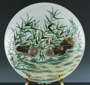 HUGE OLD CHINESE FAMILLE VERTE ENAMEL GEESE SCENIC PORCELAIN CHARGER PLATE BOWL