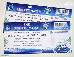 Details About Football Ticket Wedding Invitations Sample Pack Soccer Invites