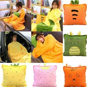 details about 2 in 1 folding flannel wearable plush pillow blanket air conditioning blanket