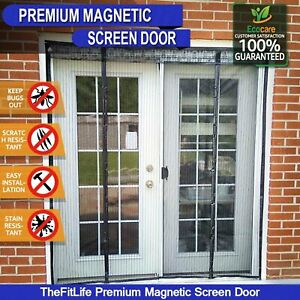 details about double door magnetic fly screen mesh curtain net snap shut 60 x 80 insect