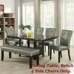 Silver Faux Leather 4 Side Chairs Bench And Dining Table Dining Room Furniture For Sale Online Ebay