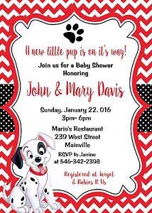 Details About 101 Dalmatians Dalmatian Puppy Dog Baby Shower Invitation