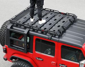 detalles acerca de 4 door roof rack cargo basket fit 07 18 jeep wrangler jk double ladders no drill