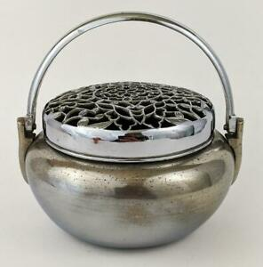 CHINESE ANTIQUE WHITE METAL PAKTONG? HAND WARMER EARLY 20TH CENTURY