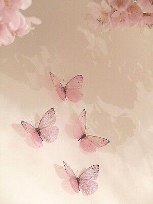 4 Pink Girls 3d Sparkling Fairy Dust Butterflies Butterfly Bedroom Accessories Ebay