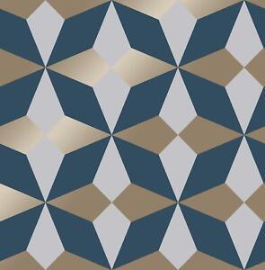 details sur geometrique papier peint bleu blanc or metallique brillant moderne fine decor nova afficher le titre d origine