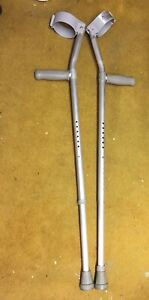 details about j m c rehab orthopaedic crutches adjustable lightweight aluminium