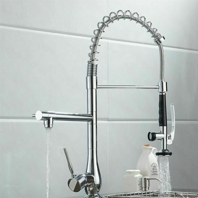 spring chrome industrial kitchen bar sink faucet pull out spray single handle