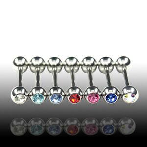 1,6mm Piercing Barbell Kugel mit Kristall Zungen Piercing Stab Stecker