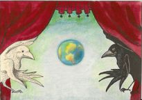 ACEO PRINT OF PAINTING RYTA CROW RAVEN FANTASY GOTHIC ART SURREALISM WORLD  STAGE | eBay