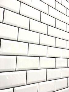 details about white 3x6 beveled shiny glossy ceramic subway tile backsplash wall bath 80 pcs