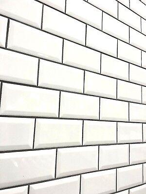 white 3x6 beveled shiny glossy finish ceramic subway tile backsplash wall bath ebay
