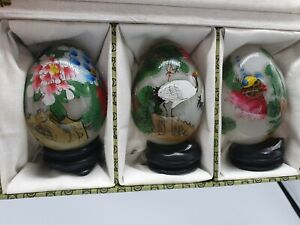 3 Vintage Chinese Reverse Hand Painted Glass Eggs on Wooden Stand Ornament