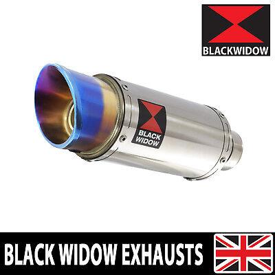 black widow 200mm rund edelstahl auspuff slip on schalldampfer blau tip sl20r ebay