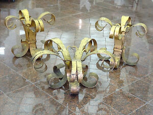 details about set of 3 vintage spanish scroll leg gilded wrought iron side table coffee table