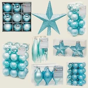 Ice Blue Collection Christmas Decorations Baubles Stars Cones Hearts Tree Topper Ebay