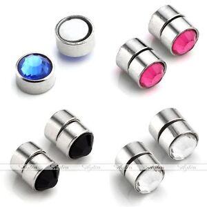 Magnet Edelstahl Kristall Nasen/Ohr/ Lippen Fake Plug Piercing Schmuck