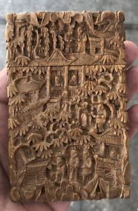 Antique Chinese Boxwood Hand Carved Card Case Circa 1900s No Reserve !