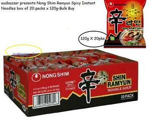 Nong Shim Ramyun Spicy Instant Noodles box of 20 packs x
