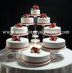 8 TIER CASCADING WEDDING CAKE STAND STANDS SET   eBay Image is loading 8 TIER CASCADING WEDDING CAKE STAND STANDS SET
