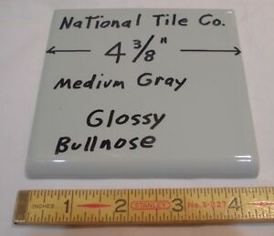 details about 9 pcs vintage medium gray 4 3 8 glossy ceramic bullnose by national tile co