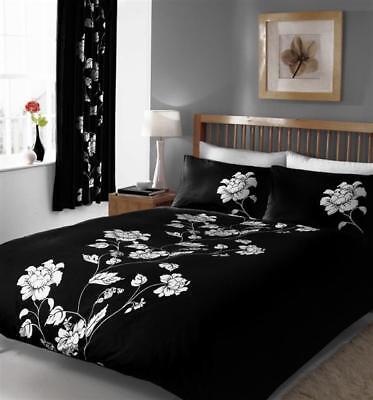 king size duvet set quilt cover bed set black white flowers ebay