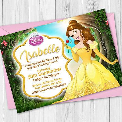personalised disney princess birthday party invitations belle birthday invites ebay