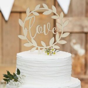 Wooden Love Wedding Cake Topper   Rustic Country range by Ginger Ray     Image is loading Wooden Love Wedding Cake Topper Rustic Country range