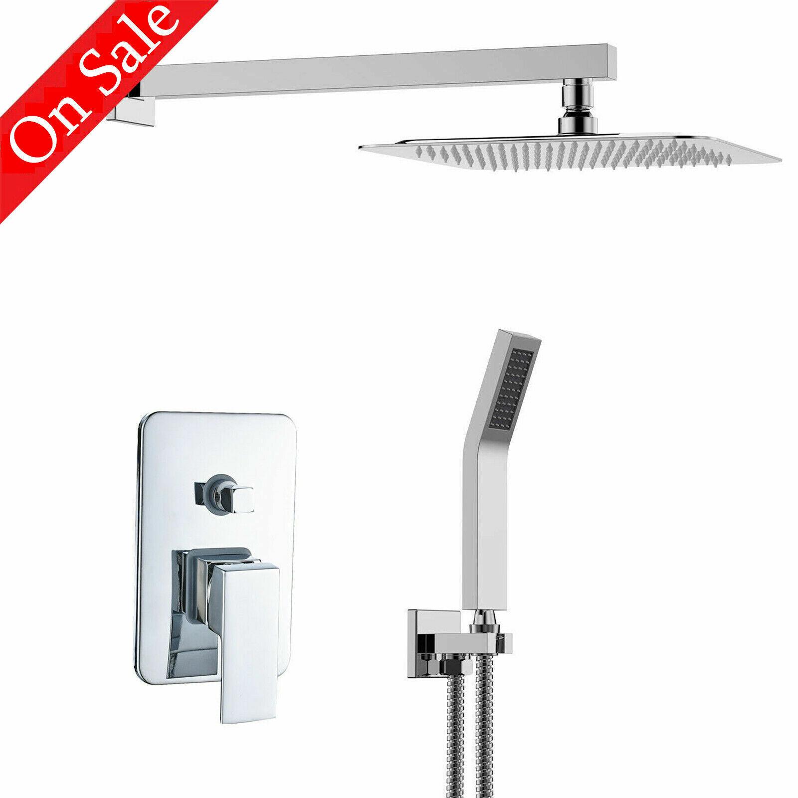 8 Single Handle Shower Faucet Trim Valve Hand Shower Complete Kit Square Chrome