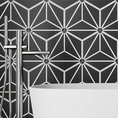 full tile sample jasmine black star hexagon moroccan porcelain wall floor tiles ebay