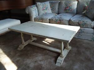 details about antique distressed painted pale yellow wooden coffee table unique spooled legs