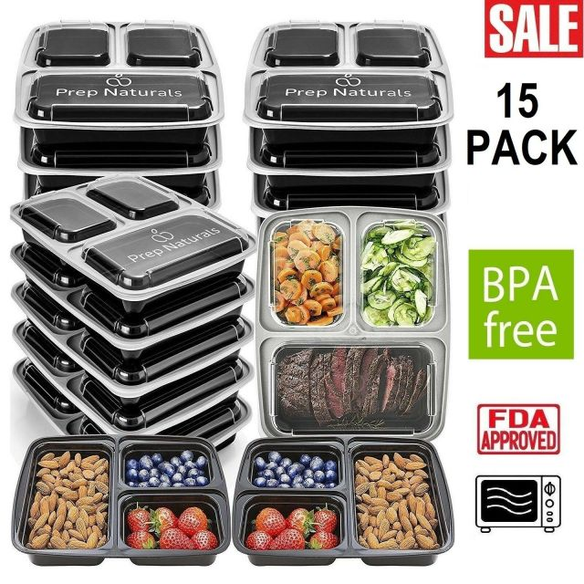 15 Pack Meal Prep Containers Food Storage 3 Compartment Reusable Microwave Safe 2