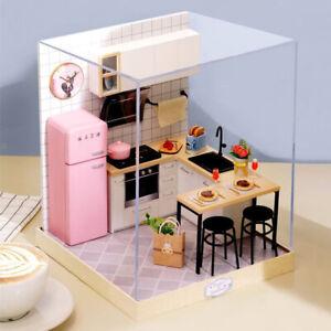 details sur 1 24 maison de poupees en bois diy 3d dollhouse miniature kit de cuisine jouets