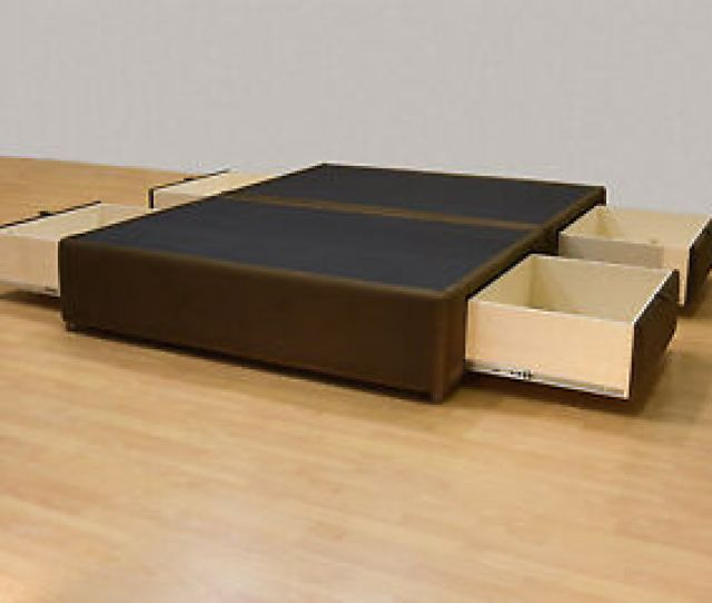 Image Is Loading Queen Platform Bed With Storage Drawers Uphostered Storage