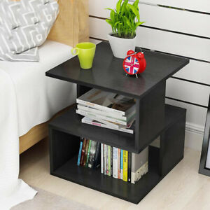 details about modern 2 tiers side coffee tea table small square bedside storage shelf black